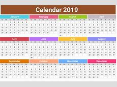 2019 Calendar PNG Transparent HD Photo PNG All