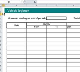 vehicle log book format excel spreadsheet