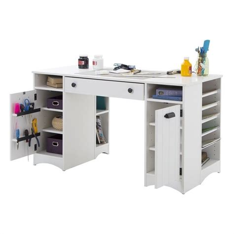 crafts desk south shore artwork craft table with storage in white