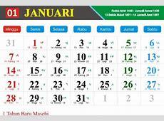 Kalender Hijriyah Jawa dan Masehi Bulan Januari 2018
