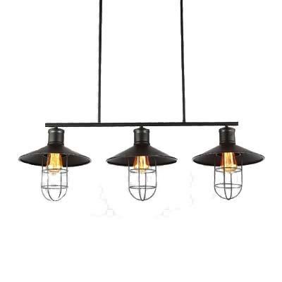 industrial style three light billiard kitchen island light