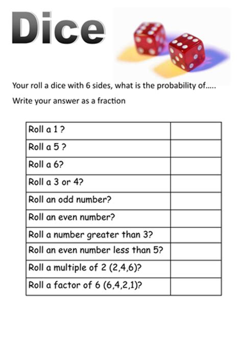 probability word problems worksheet with answers dice and cards probability short worksheets by moth754