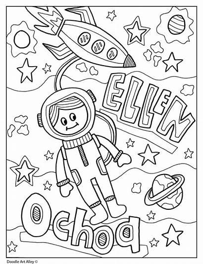 Hispanic Heritage Month Ellen Ochoa Coloring Sheets