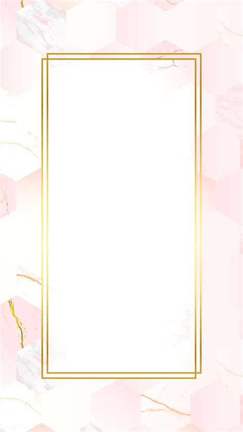 Download premium vector of Gold rectangle frame on pink