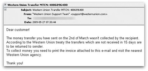 Closet Western Union by Western Union Malware Attack Rides Into Inboxes