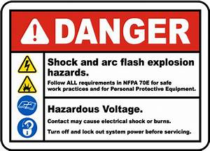 danger shock and arc flash label by safetysigncom j5543 With arc flash label requirements