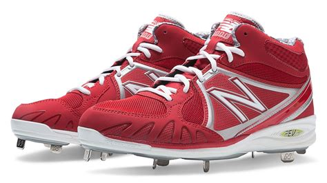 balance mens baseball  mid cut cleat shoes red