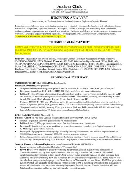 22231 free business resume template sle resume for business analyst
