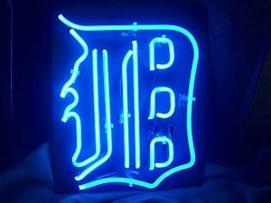 """Detroit Tigers English """"D"""" Neon Sign"""