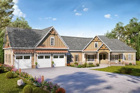 expanded country craftsman home plan   car angled garage dk architectural designs