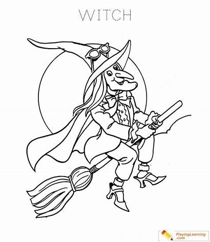 Witch Coloring Halloween Witches Sheets Sheet Flying
