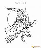 Witch Coloring Halloween Witches Sheets Sheet Playinglearning Friendly Printable Flying Learning sketch template