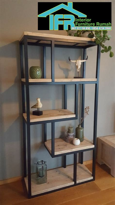 lemari buku minimalis rangka besi interior  eksterior