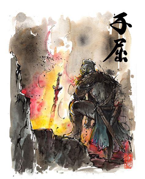 Dark Souls Bonfire Sumi/watercolor Style By Mycks On