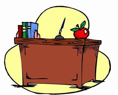 Desk Teacher Clipart Teachers Clip Classroom Escritorio