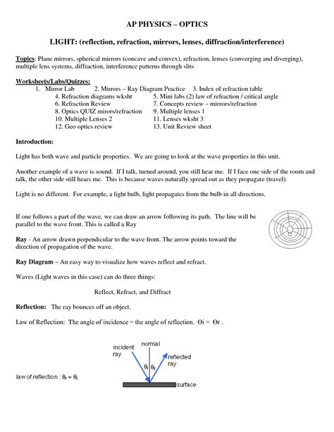 15 best images of refraction of light worksheet light