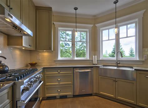 stainless steel apron sink Kitchen Traditional with