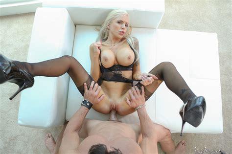 mature milf in black stockings displays her messy creampie