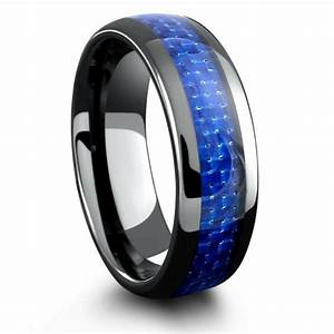 mens black ceramic wedding band with blue woven carbon With blue mens wedding rings