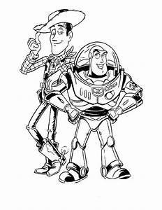 Colorare Toy Story, disegno Sceriffo Woody e astronauta Buzz