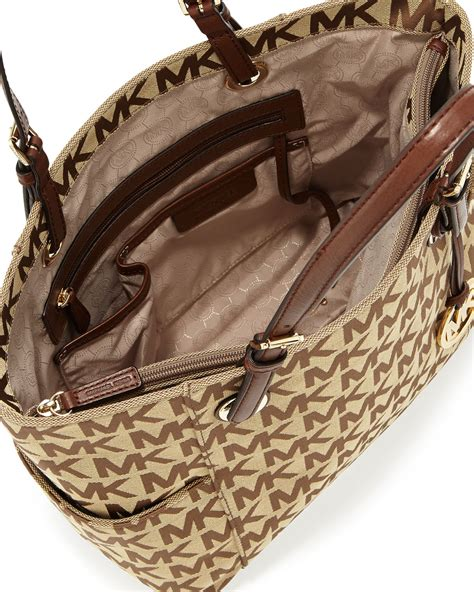 michael michael kors canvas jet set ew signature tote  brown lyst