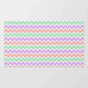 Coral Peach Pink and Lavender and Mint Green Chevron Rug ...