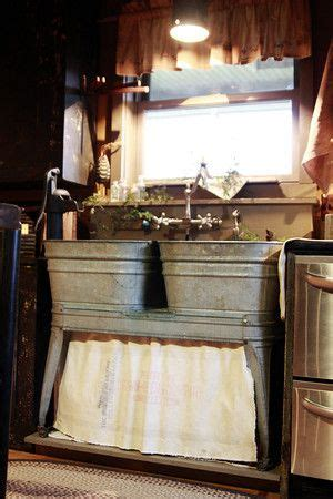 Old Galvanized Double Wash Tubs Used Kitchen Sink