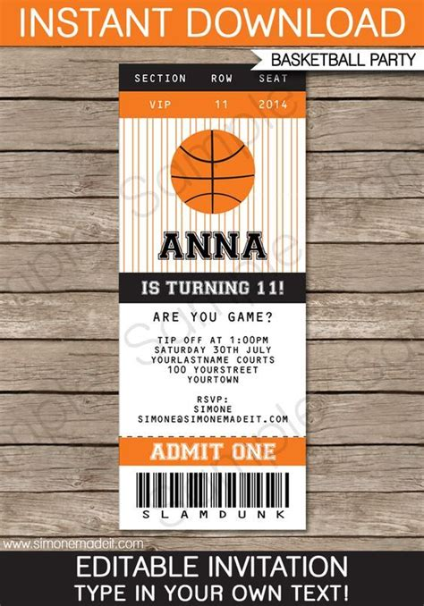 birthday invitation templates ticket 13 best 20 basketball tickets ideas on pinterest
