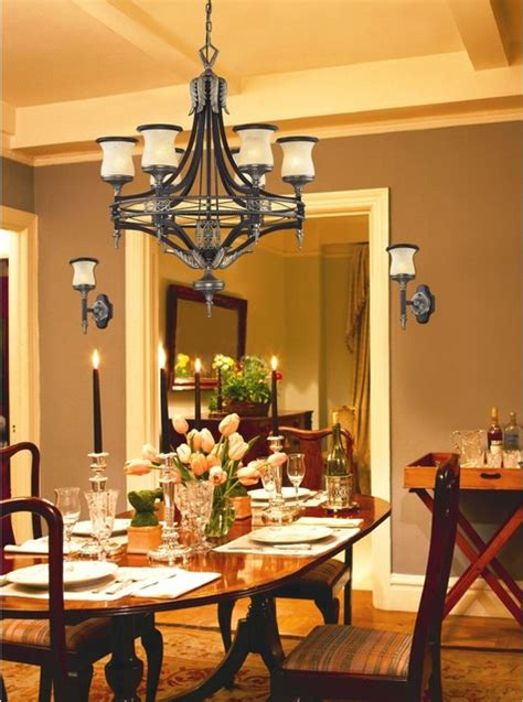 traditional design  light bronze wrought iron dining room