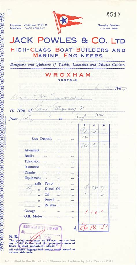 Boat Prices Invoice by Broadland Memories Boatyards And Boats