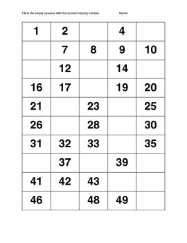 number sequencing 1 50 by love n learn teachers pay teachers