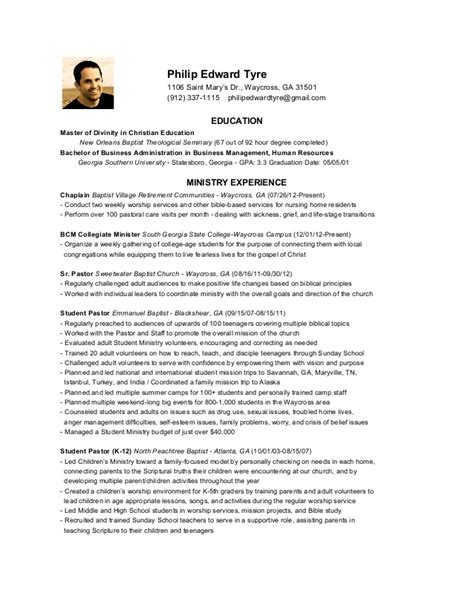 Ministry Resume Template by Ministry Resume Of Philip Tyre