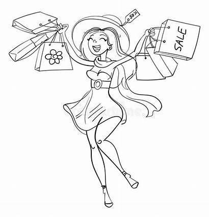 Shopping Bags Happy Coloring Illustration Cartoon Vector