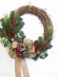 Weihnachtskranz Für Tür : christmas wreath burlap bow on christmas wreath rustic christmas wreath christmas wreath for ~ Bigdaddyawards.com Haus und Dekorationen