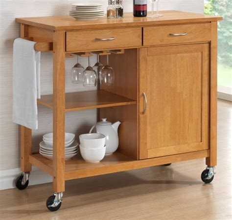 Hardwood Oak Finish Kitchen Trolleys. Half Price Sale Now