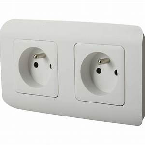 Goulotte Electrique Avec Prise : double prise avec terre cosy lexman blanc leroy merlin ~ Mglfilm.com Idées de Décoration
