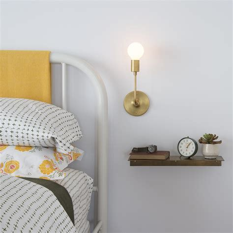 brass shelf and wall lights from school house electric