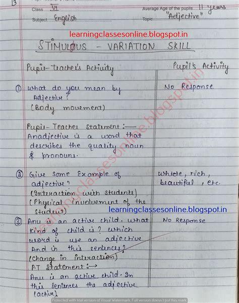 microteaching lesson plan for english grammar stimulus
