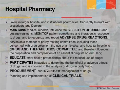 Pharmacist Responsibilities by Of Pharmacist
