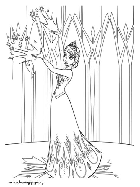 frozen elsa begins   life   mountain coloring page