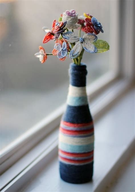diy yarn wrapped bottle vase   decorate  bottle