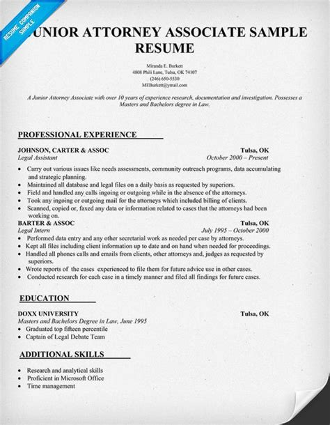 Attorney Resume Sles by Junior Attorney Associate Resume Sle