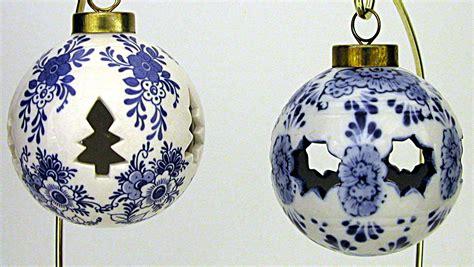 set of 2 blue delft ball ornaments christmas ornaments