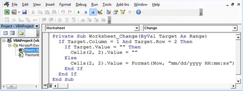 insert date time stamp  vba vba