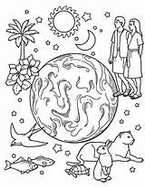 Creation Coloring Pages Days Jason Gods Earth Voorhees Drawing Printable Bible Sheets Story Coloringsun Element Getdrawings Printables Getcolorings Personable Preschool sketch template