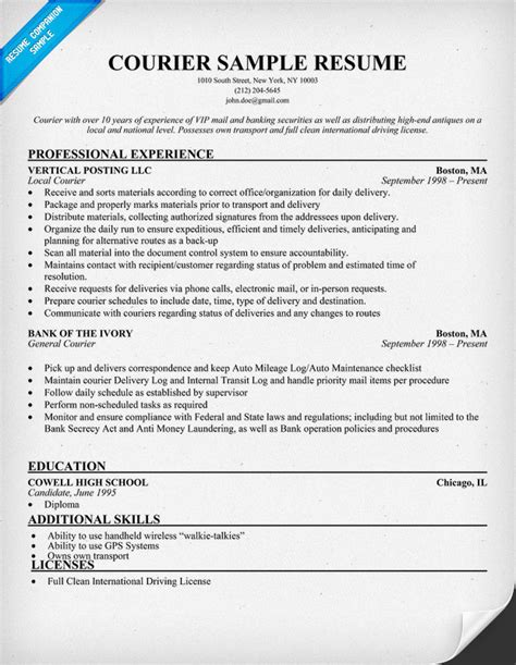 Courier Resume Objective by Sle Resume For Fresh Graduate Management Sle Resume