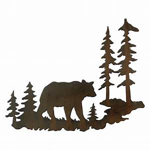 woodland bear metal wall art With kitchen cabinets lowes with fly fishing metal wall art