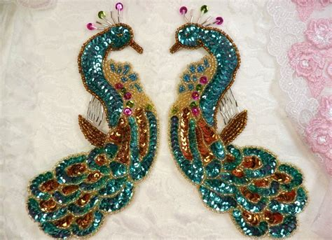 Peacock Applique by Turquoise Sequin Beaded Applique Peacock