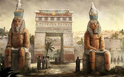 Egypt Fantasy Architecture Artwork Statue Wallpapers Desktop