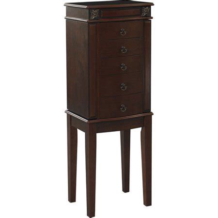 jewelry armoire walmart linon calla 5 drawer jewelry armoire with mirror cherry